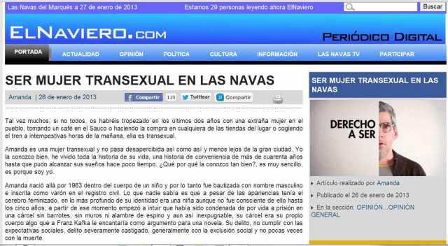 Enlace al artículo en el periódico  local  El Naviero de la Navas del Marqués (Ávila)