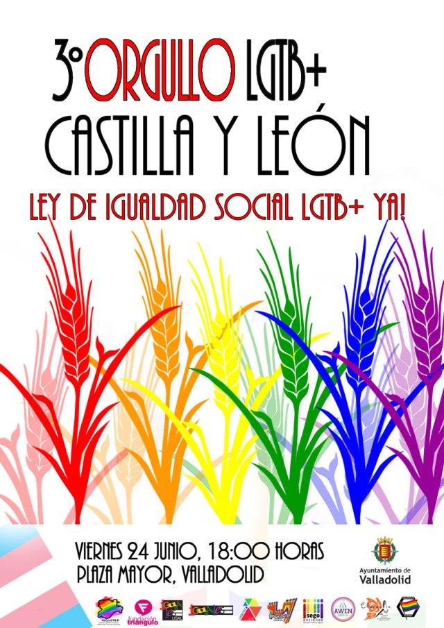 Cartel del 3º Orgullo LGTB+ de Castilla y León. 24 de junio de 2016 en la plaza Mayor de Valladolid a las 18:00 horas
